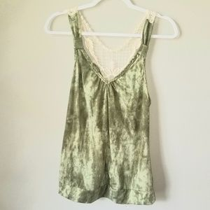 Tye Die Green tank with Lace detail